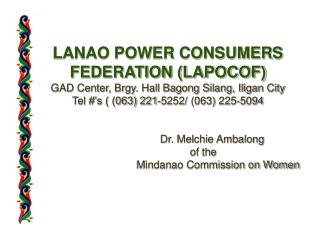 Privatization of the Agus / Pulangui Hydro Electric Complexes