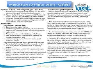 Improving Care out of hours  Update – Aug 2013