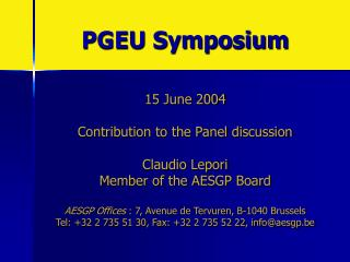 PGEU Symposium