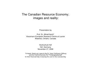 The Canadian Resource Economy;  images and reality: