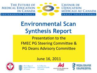 Environmental Scan  Synthesis Report