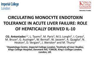 CIRCULATING MONOCYTE ENDOTOXIN TOLERANCE IN ACUTE LIVER FAILURE: ROLE OF HEPATICALLY DERIVED IL-10