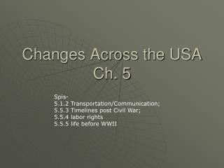 Changes Across the USA Ch. 5