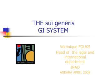 THE sui generis  GI SYSTEM