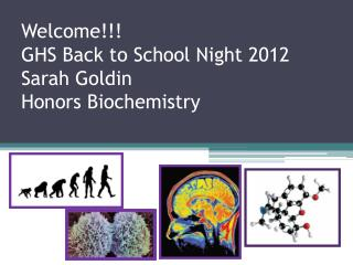 Welcome!!! GHS Back to School Night 2012 Sarah Goldin Honors Biochemistry