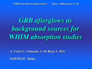 GRB afterglows as background sources for WHIM absorption studies