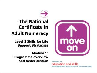 The National Certificate in Adult Numeracy   Level 2 Skills for Life Support Strategies  Module 1: Programme overview an