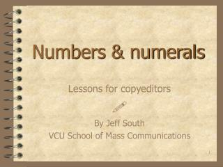 Numbers  numerals