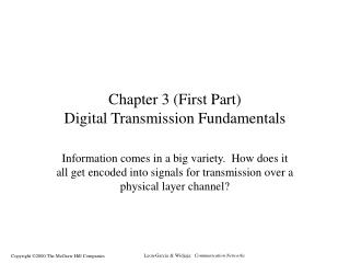 Chapter 3 (First Part) Digital Transmission Fundamentals