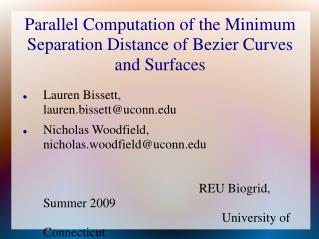 Parallel Computation of the Minimum Separation Distance of Bezier Curves and Surfaces