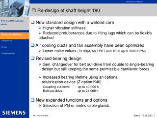 Re-design of shaft height 180