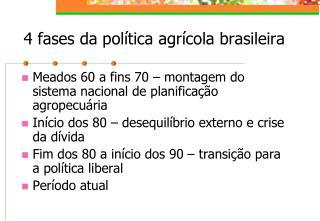 4 fases da política agrícola brasileira