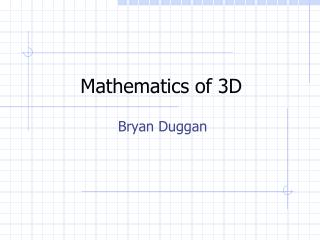 Mathematics of 3D