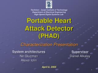 Portable Heart Attack Detector (PHAD) Characterization Presentation