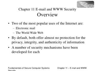 Chapter 11 E-mail and WWW Security Overview