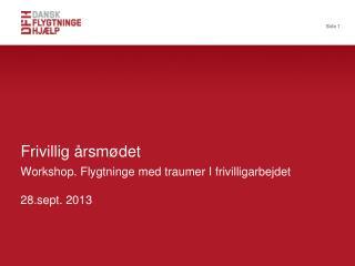 Workshop. Flygtninge med traumer I frivilligarbejdet 28.sept. 2013