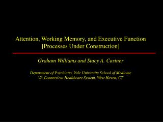 Attention, Working Memory, and Executive Function [Processes Under Construction]