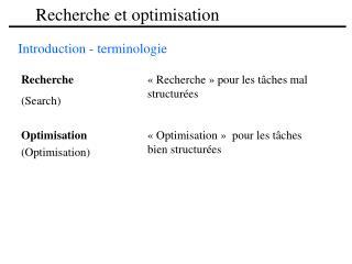 Recherche et optimisation