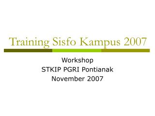 Training Sisfo Kampus 2007