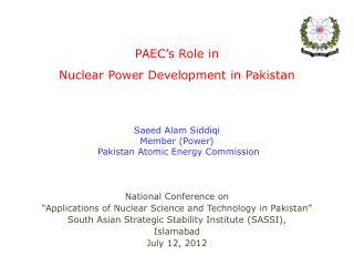 PAEC's Role in  Nuclear Power Development in Pakistan