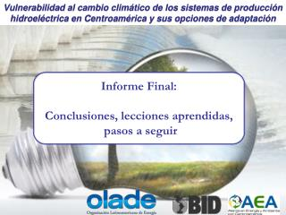 Informe Final: Conclusiones, lecciones aprendidas,  pasos a seguir