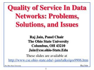 Quality of Service In Data Networks: Problems, Solutions, and Issues