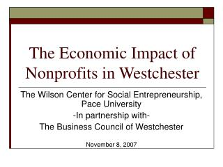 The Economic Impact of Nonprofits in Westchester