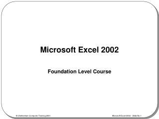 Microsoft Excel 2002