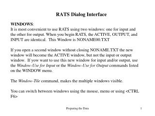 RATS Dialog Interface