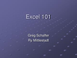 Excel 101