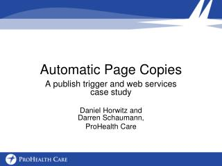 Automatic Page Copies