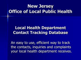 Local Health Department Contact Tracking Database