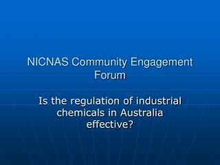 NICNAS Community Engagement Forum