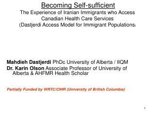Mahdieh Dastjerdi  PhDc University of Alberta / IIQM