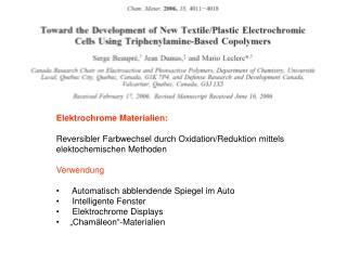 Elektrochrome Materialien: Reversibler Farbwechsel durch Oxidation/Reduktion mittels