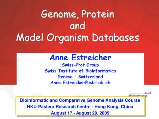 Genome, Protein and Model Organism Databases