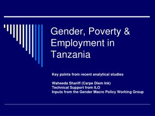 Gender, Poverty & Employment in Tanzania