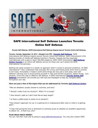 SAFE International Self Defense Launches Toronto Online Self