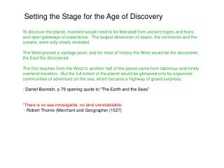 Setting the Stage for the Age of Discovery