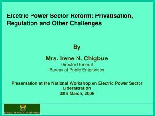 Electric Power Sector Reform: Privatisation, Regulation and Other Challenges