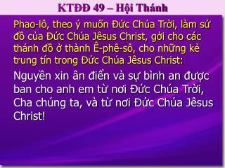 KTĐĐ 49 – Hội Thánh
