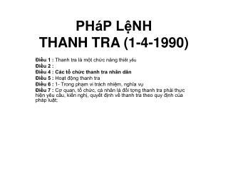 PHáP LệNH  THANH TRA (1-4-1990)