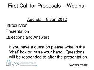 First Call for Proposals  - Webinar