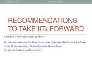 recommendations to take IIT s  forward