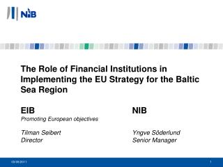 The Role of Financial Institutions in Implementing the EU Strategy for the Baltic Sea Region  EIB     NIB  Promoting Eur