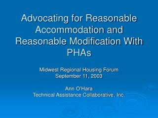 Advocating for Reasonable Accommodation and Reasonable Modification With PHAs