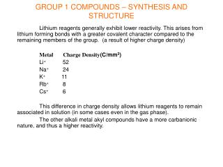 GROUP 1 COMPOUNDS – SYNTHESIS AND STRUCTURE