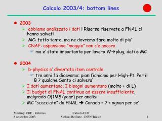 Calcolo 2003/4: bottom lines