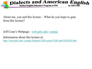 About me, you and this lecture – What do you hope to gain from this lecture?