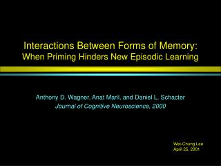 Interactions Between Forms of Memory: When Priming Hinders New Episodic Learning